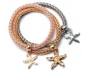 Trojitý náramok s prívesky v tvare hviezdic