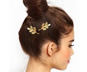 Spona do vlasov - Vetva s listami (zlatá)