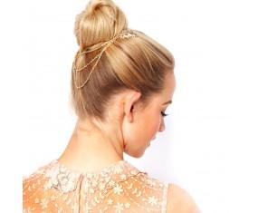 Ozdoba do vlasov - Vetvičky s listami spojené 3 retiazky (zlatá farba)