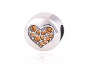 """Prívesok na náramok """"Orange Heart"""" 925 Šterlingové striebro"""