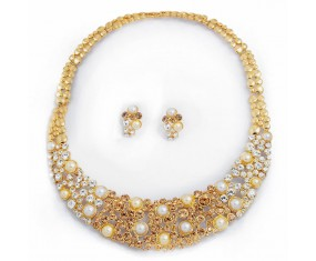 Nádherný náhrdelník s náušnicema pozlacený a vykladaný krystaly