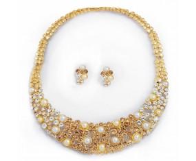 Nádherný náhrdelník s náušnicami pozlatený a vykladaný kryštálmi