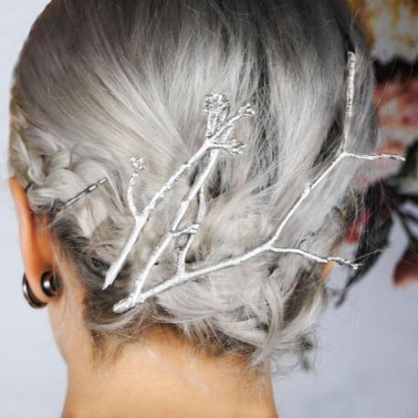 Spony do vlasov - sada strieborných vetvičiek