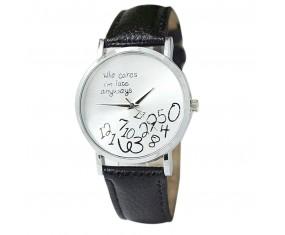 """Dámske hodinky """"Who cares..."""" s čiernym pásikom"""