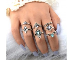 "Sada prstienkov ""Bohemian silver Shine"""