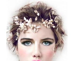 """Ozdoba do vlasov - Zlatá lístečková čelenka """"Romantic Shapes"""""""