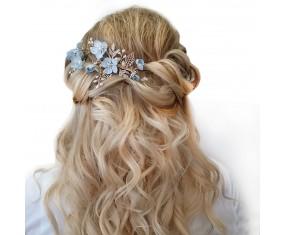 "Svadobná ozdoba do vlasov ""Nikko Blue"""