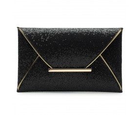 Malá spoločenská dámska listová kabelka-čierna