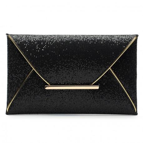 01114130e1 Malá spoločenská dámska listová kabelka-čierna