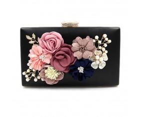 """Spoločenská kabelka-čierná """"Flower"""""""