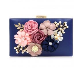 """Spoločenská kabelka-modrá """"Flower"""""""