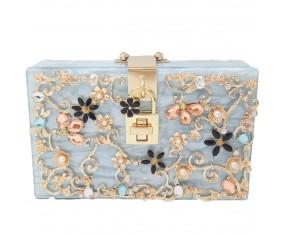 "Luxusná spoločenská kabelka-modrá ""Blue Shine"""