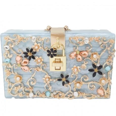 "Luxusná spoločenská kabelka-ružová ""Blue Shine"""