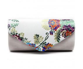 "Spoločenská večerná kabelka - biela ""Floral Clutch"""