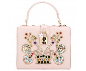 "Luxusná spoločenská kabelka-ružová ""BB"""