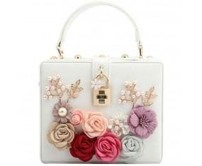 "Luxusná spoločenská kabelka - biela ""Bloom"""