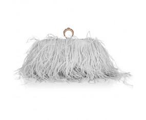 """Luxusná večerná kabelka """"Feather Dream - gray & gold"""""""