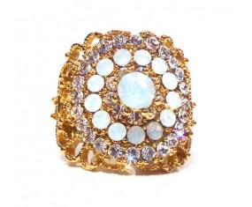 Prsten pozlacený 18K zlatem osazen achátem a zirkony
