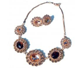 Luxusní náhrdelník s náušnicami - pozlátený