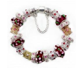 """Náramek """"Crystal flower"""" postříbřený s přívěsky z muránského skla"""