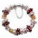 """Náramok """"Crystal flower"""" postriebrený s príveskami z muránského skla"""