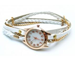 Kožený biely náramok s hodinkami