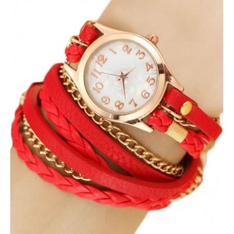 Kožený náramok s hodinkami červený