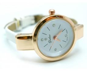 Kožený náramok s hodinkami biely